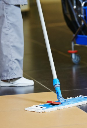 femme entretien nettoie le sol